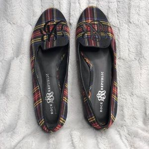Rock & Republic Plaid Embroidered Loafers Flats